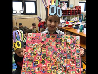 """Kindergarten student Paige Harrison created a poster filled with 100 photos of sugar gliders (a type of possum!) to demonstrate her """"counting to 100"""" proficiency, as well as her creativity."""