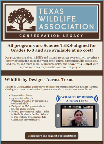 Book Your Spring 2021 Texas Wildlife Association Guest Speakers and Field Trips!
