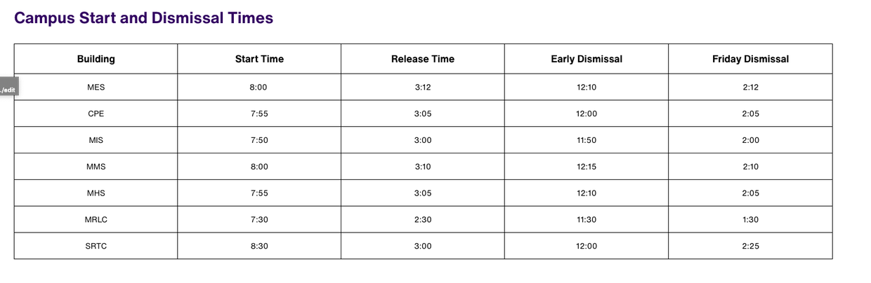 Click here to see early dismissal schedule