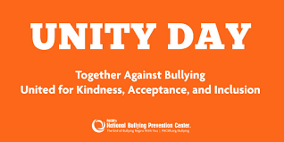 Wednesday, October 24th is World Unity Day!  Wear Orange! Together against bullying. UNITED for kindness, acceptance and inclusion.