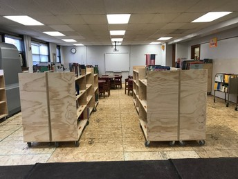 All the books are generally in same place, but on temporary shelving carts.