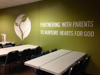 Kids Ministry logo and vision statement were prominently stated in the Children's Center.