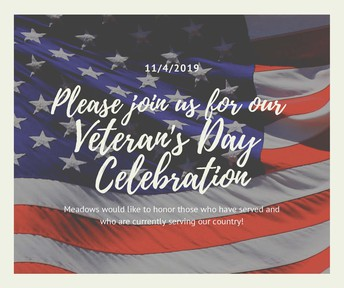 Veteran's Day Celebration 11/4 and Family Morning Ceremony