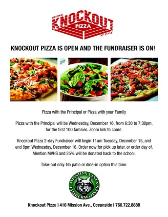 """Fundraiser and Virtual """"Pizza with the Principal"""""""