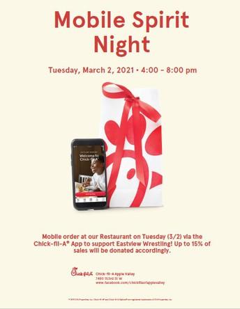 NEW: Chick-Fil-A Mobile Spirit Night - 3/2/21