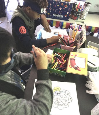 4th grade in action in the Art class!!