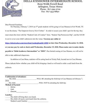 Casa Manana Field Trip Letter