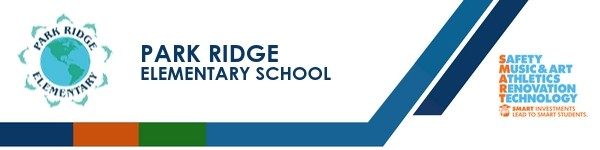 A graphic banner that shows Park Ridge Elementary School's name and SMART logo