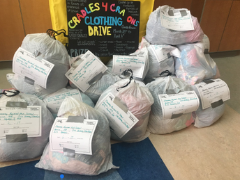 Monomoy 8th grade Project 351 Service Ambassadors conclude clothing drive for Cradles to Crayons