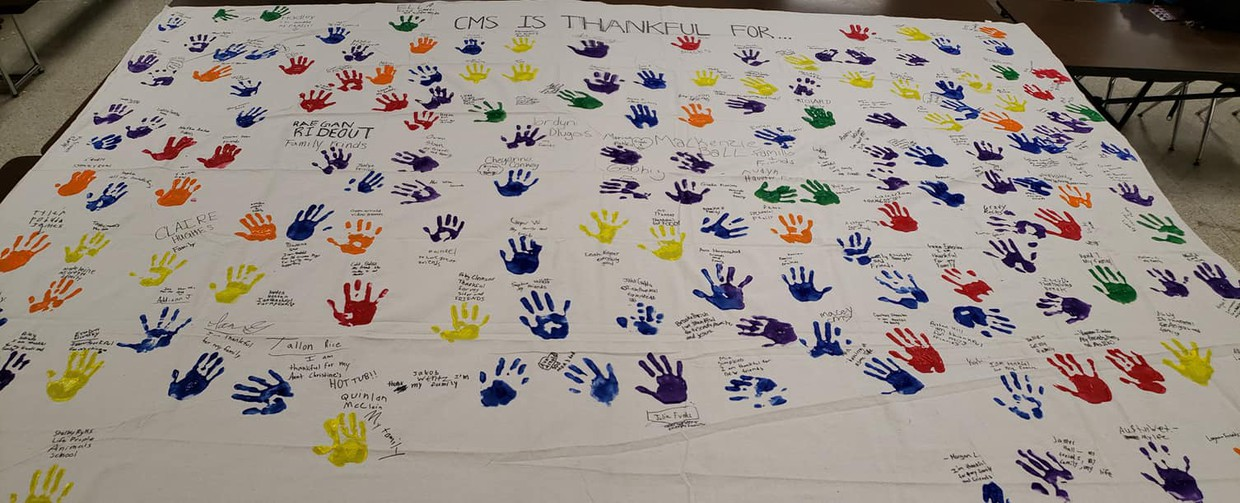 """Thankful"" artwork made by students at Chardon Middle School's Turkey Trot dance, sponsored by the CMS PTO."
