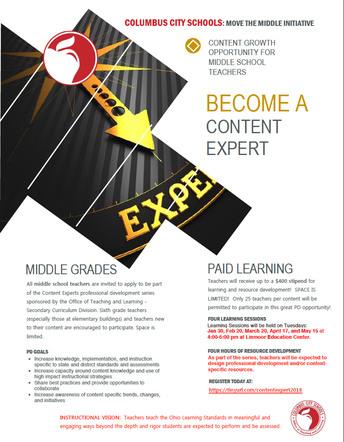 Middle School Content Expert Series: Apply Today!