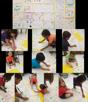 Students in Ms. Herczeg's 1st grade class at Floresta Elementary made a class quilt as part of their Sanford Harmony Lesson