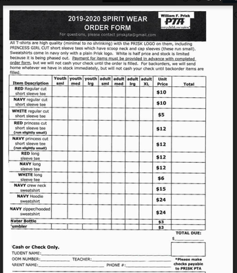 Spirit-Wear Order Form