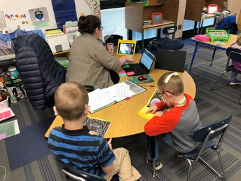 1st Grade Reading Groups with online and in person students together!