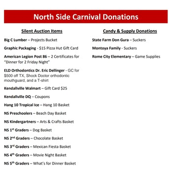 Thank you to all of our donations for the Carnival this Friday!
