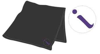 Black inspire blanket, with embroidered purple 'i'