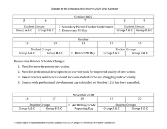Changes to the Lebanon School District 2020-2021 Calendar