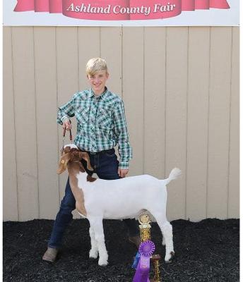 Joe Foster with his winning Market Goat