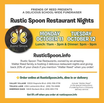 MONDAY & TUESDAY: Rustic Spoon Dine & Donate (Oct 11-12)