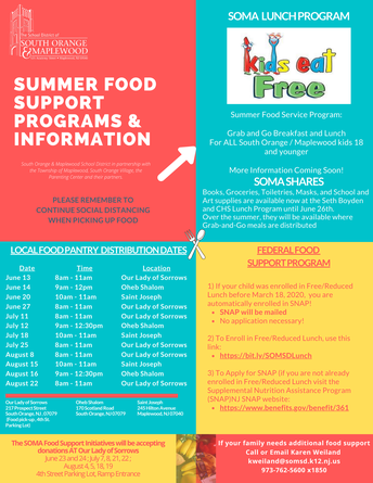 SOMSD Announces Summer Food Support Programs & Information