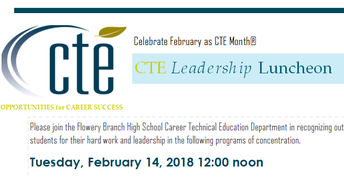 CTE Leadership Luncheon is February 14th