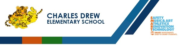 A graphic banner that shows Charles Drew Elementary School's name and SMART logo