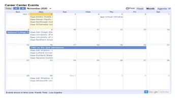 Career & College Calendar of Events