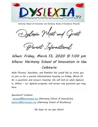 Dyslexia Meet and Greet Parent Informational