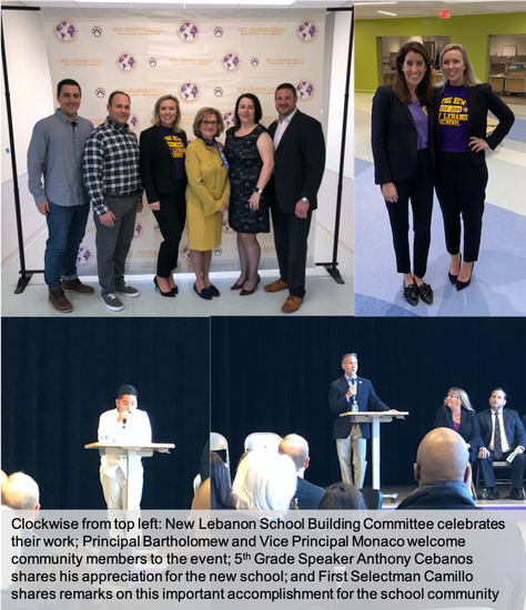 New Lebanon School's Dedication Ceremony featuring members of the Building Committee, School Administration, Student Speakers and Greenwich's First Selectman