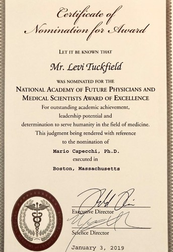 Congratulations to Levi Tuckfield for his nomination to the National Academy of Future Physicians and Medical Scientist Award of Excellence