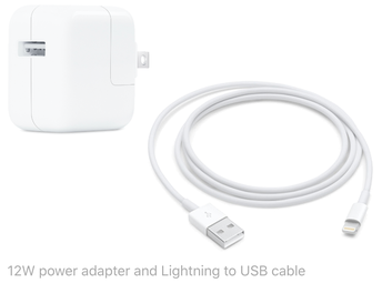12W power adapter and Lightning to USB cable