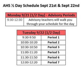 1/2 Day Schedule for 9/21 and 9/22