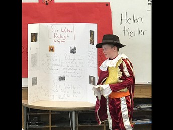 3rd graders decked out in costumes for their presentations