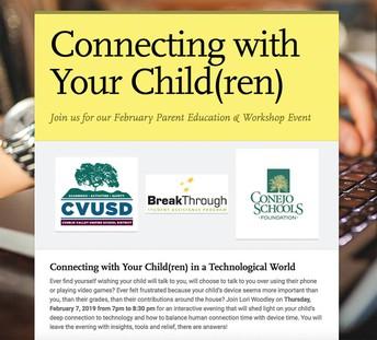 Conexión con su hijo(s) en un mundo tecnológico - Únase a nosotros para nuestro Padre febrero Educación y Taller de eventos!