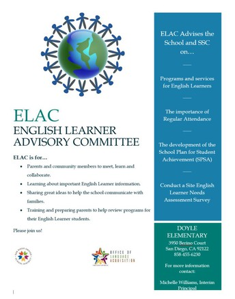 ELAC Meeting Wednesday, May 5th at 3PM