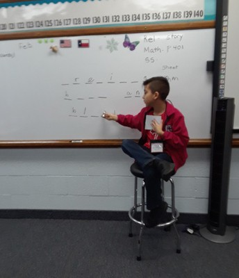 Kaleb Diaz stepping in to teach Ms. Schump's Math Class