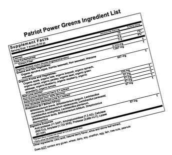 The Ingredients - Let's look at what Patriot Power Greens contains.