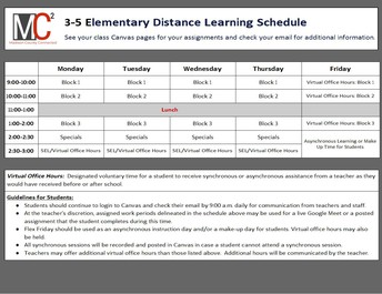 October 12 - 14 Distance Learning Schedule for 3rd, 4th, & 5th Grades