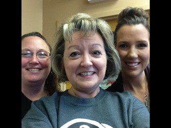 The office Staff: Mrs. Perry, Mrs. Hubbard, and Mrs. Mullins