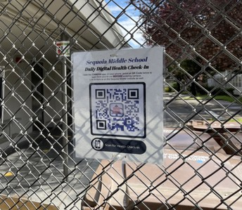 Daily Digital Health Check-In QR Code signage posted on campus