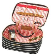 Black/Cream Stripe Travel Jewelry Case