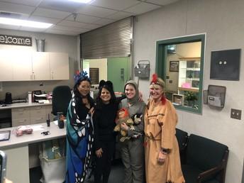 Ms. Izuhara, Mrs. Hurd, Mrs. Dorroh and Mrs. Hawthorne Dressed Up for Halloween Festivities