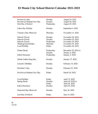 Official 2021-2022 El Monte City School District Calendar