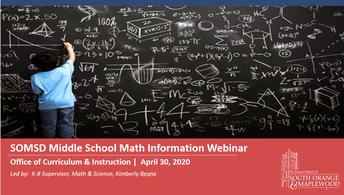 Middle School Math Night Math Information Webinar Video