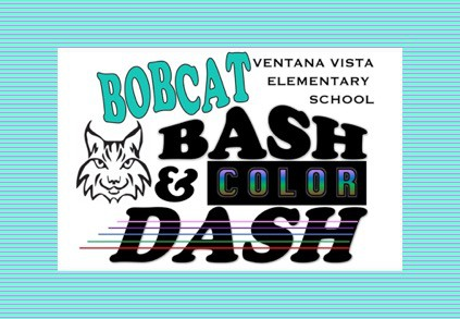 Flyer with Bobcat Bash & Color Dash words and a Bobcat graphic
