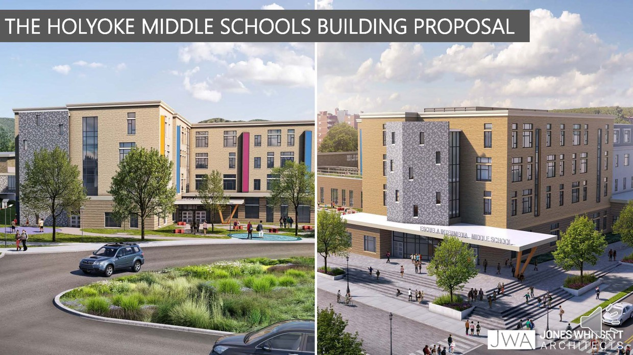 Sketches of the proposed two new middle school buildings