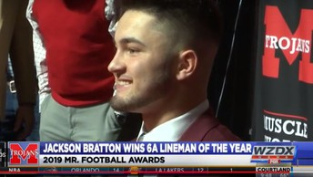 Jackson Bratton won the 6A Lineman of the Year Award on January 15 at the state's coveted Mr. Football Awards Banquet