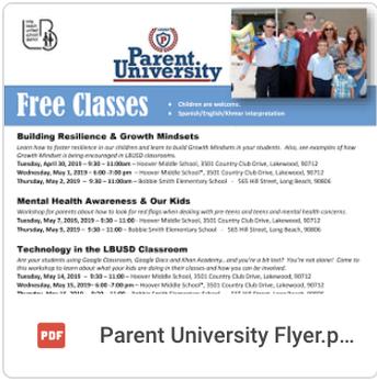 Free Classes for Parents & Guardians