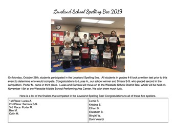 Loveland School Spelling Bee 2019