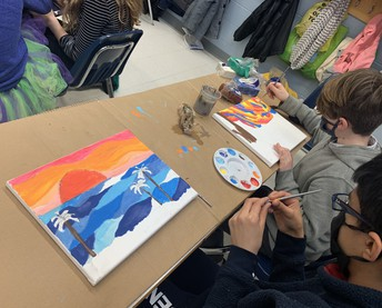 Working on our Landscapes in Ms. Cancian's class